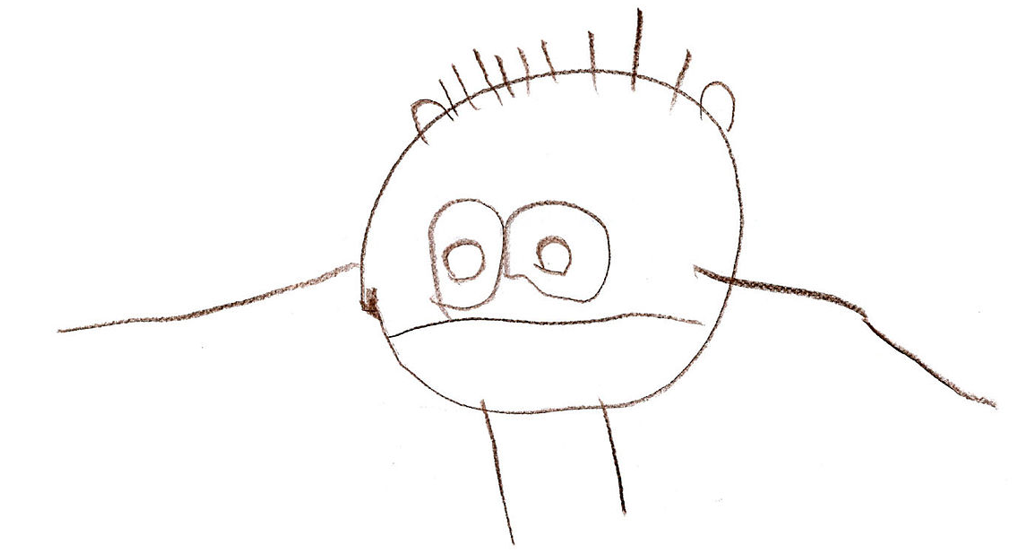 Drawing by a three year old of a person with arms and legs extending from the head.